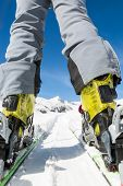 stock photo of ski boots  - Close up of skier - JPG