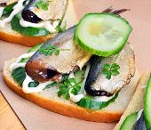 ������, ������: Sprats Sandwiches Appetizer On Paper Background