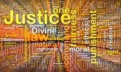 stock photo of socrates  - Background concept wordcloud of justice law glowing light - JPG