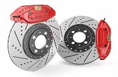 pic of friction  - Car discs brake and caliper isolated on white background - JPG