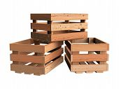 stock photo of wooden crate  - A heap of isolated empty wooden fruit crates - JPG