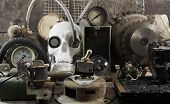 picture of steampunk  - White human skull with mechanical steampunk style metal parts composition on wooden table front view - JPG