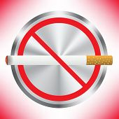 picture of tobacco smoke  - Prohibition sign on red background - JPG
