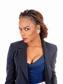 image of braids  - A closeup portrait of a pretty African American women in a dark blue jacket and braided hair standing isolated for white background - JPG