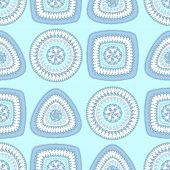 stock photo of blue things  - Seamless pattern with circle triangle square in light blue colors and  in  Ethnic style for decorate different things - JPG