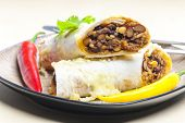 picture of fill  - burrito filled with beef minced meat and beans baked with gouda cheese - JPG