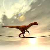pic of dinosaurus  - Concept or conceptual abstract business metaphor as wild heavy dinosaurus balancing on rope over sunset sky background - JPG