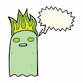 foto of funny ghost  - funny cartoon ghost with speech bubble - JPG