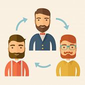 foto of gathering  - Three happy Caucasian employees with beard communicating and exchanging ideas each other for them to  come up a   good marketing strategy before they will present it - JPG