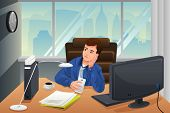picture of boring  - A vector illustration of businessman looking bored at the office - JPG