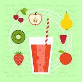 stock photo of fruit shake  - Fresh smoothie vector concept - JPG
