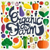 foto of farm  - Organic farm vector concept with fruits vegetables and custom typography - JPG