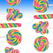 pic of lolli  - Fantasy sweet candy land with lollies on blue background - JPG