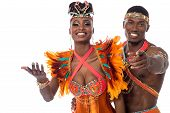 stock photo of samba  - Half length of samba dancer pointing to camera - JPG