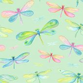 picture of dragonflies  - Seamless background of watercolor dragonflies blue - JPG