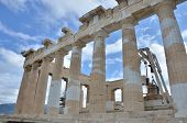 stock photo of parthenon  - An external view of the ruins of the famous Parthenon in Athens - JPG