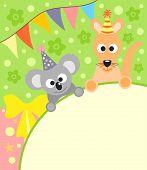 pic of koalas  - Background card with funny koala and kangaroo - JPG