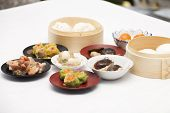 picture of chinese menu  - Group of stream Dim Sum chinese food (selective focus) / Cooking Dim sum concept