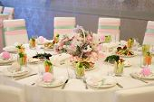 picture of banquet  - Banquet birthday table setting on evening reception - JPG
