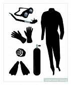 picture of undersea  - Illustration Collection of Underwater Diving Equipment or Scuba Diving Equipment Isolated on White Background - JPG