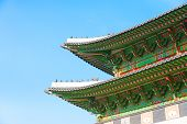 pic of seoul south korea  - Gyeongbokgung Palace with blue sky in Seoul South Korea - JPG