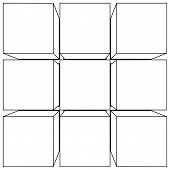 image of parallelepiped  - Wireframe mesh outline cube - JPG