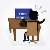 stock photo of temperance  - Businessman confused and being in stress temper with error message on computer - JPG