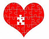 Red Heart Puzzle w/heart