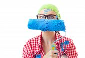 pic of amaze  - Playful funny amazed woman with roller ready for wall painting or new home renovating isolated on white - JPG