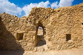 picture of masada  - Ancient wall with window in Masada in Israel - JPG