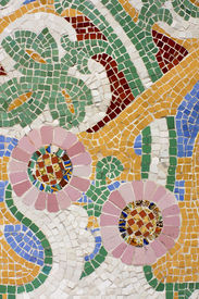 picture of ceramic tile  - Floral mosaic - JPG
