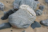 picture of gneiss  - a boulder on a lewis beach formed from gneiss  - JPG