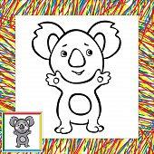 pic of koala  - Cartoon koala coloring book with border - JPG
