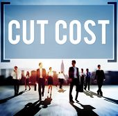 picture of reduce  - Cut Cost Reduce Recession Deficit Economy FInance Concept - JPG