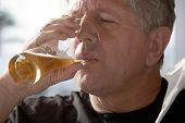 Caucasian Man Drinking Beer