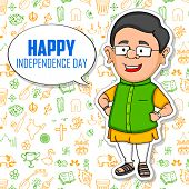 foto of indian independence day  - illustration of Indian people wishing Happy Independence Day of India - JPG