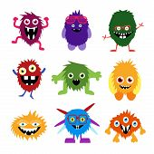 Постер, плакат: Vector Set Of Cartoon Cute Monsters And Aliens