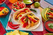 image of poblano  - Chicken fajitas tacos mexican food guacamole pico de gallo chili peppes sauces - JPG