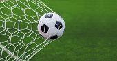 Soccer Ball In Goal poster