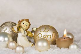 pic of christmas angel  - Christmas greeting card with angel and candle in gold - JPG