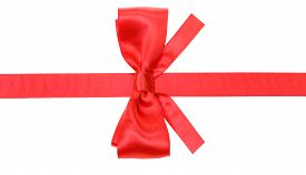 picture of box-end  - real red satin bow with square cut ends on silk ribbon isolated on white background - JPG