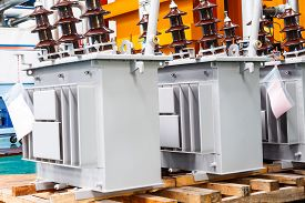 image of hermetic  - Three phase corrugated fin hermetically sealed type oil immersed transformer in production Line - JPG