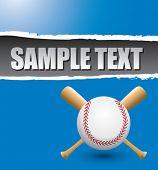 Постер, плакат: бейсбол и скрещенные биты на синем фоне разорвал