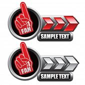 number one fan hand on red and white arrow nameplates