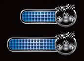 racing tires and flags on diamond textured banners