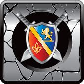 royal shield and swords web button