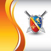 royal shield and swords vertical orange wave backdrop