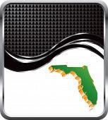 forma de estado de Florida em fundo preto onda quadriculada