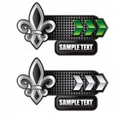 fleur de lis green and white arrow nameplate banners