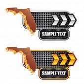 forma de estado de Florida em placas indicadoras de seta branca e ouro